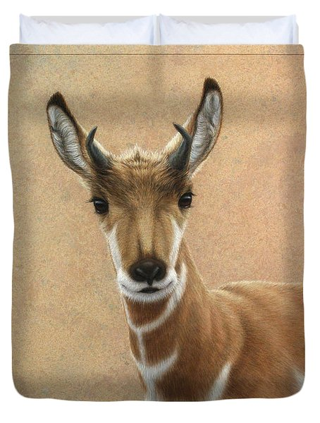 Young Pronghorn Duvet Cover by James W Johnson