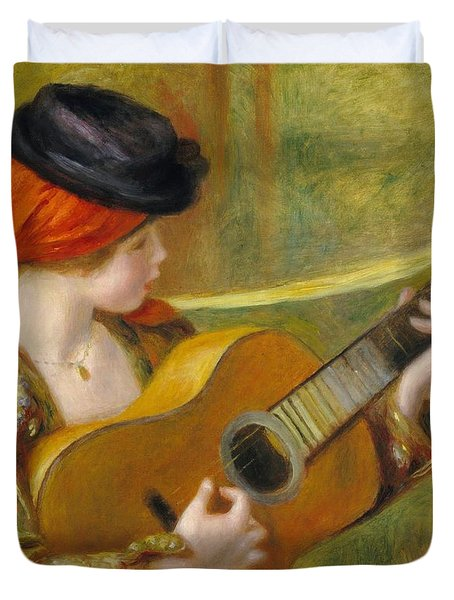 Young Spanish Woman With A Guitar Duvet Cover