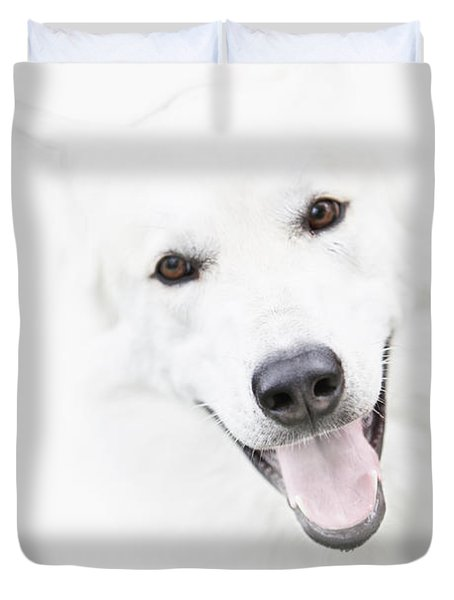 Duvet Cover featuring the digital art Young Wolf by Erika Weber