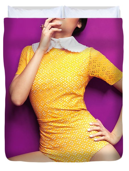 Young Woman In Bright Yellow Vintage Style Clothes Duvet Cover by Oleksiy Maksymenko