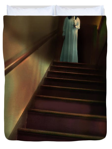 Young Woman In Nightgown On Stairs Duvet Cover by Jill Battaglia