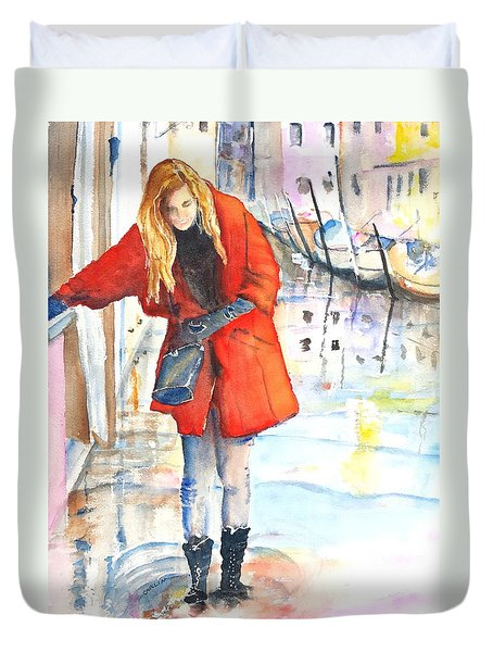 Young Woman Walking Along Venice Italy Canal Duvet Cover
