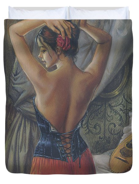 Young Woman With Luth Duvet Cover by Zorina Baldescu