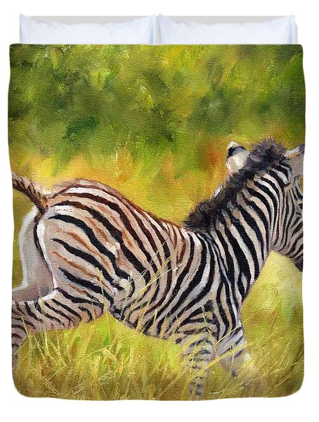 Young Zebra Duvet Cover by David Stribbling