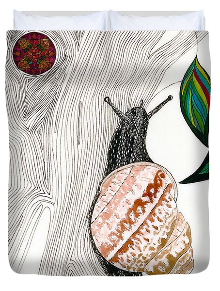 Duvet Cover featuring the drawing Your Garden Snail by Dianne Levy
