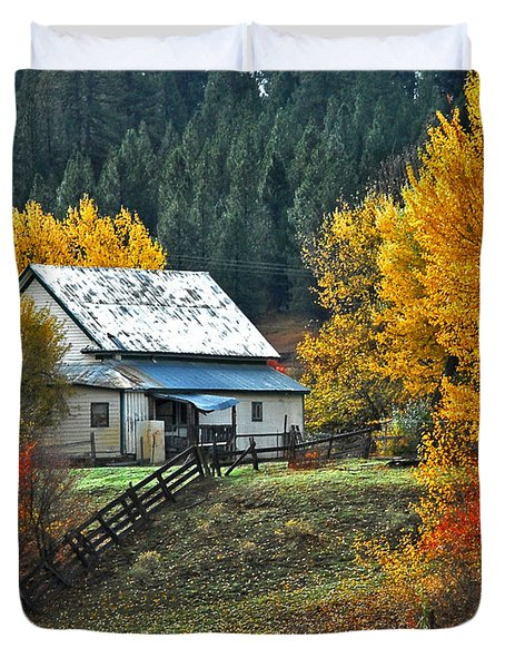 Duvet Cover featuring the photograph Yourn Barn by Sam Rosen