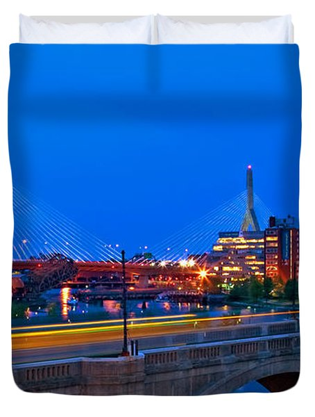 Zakim Bridge At Twilight Duvet Cover by Joann Vitali