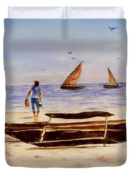 Zanzibar Forzani Beach Duvet Cover by Sher Nasser