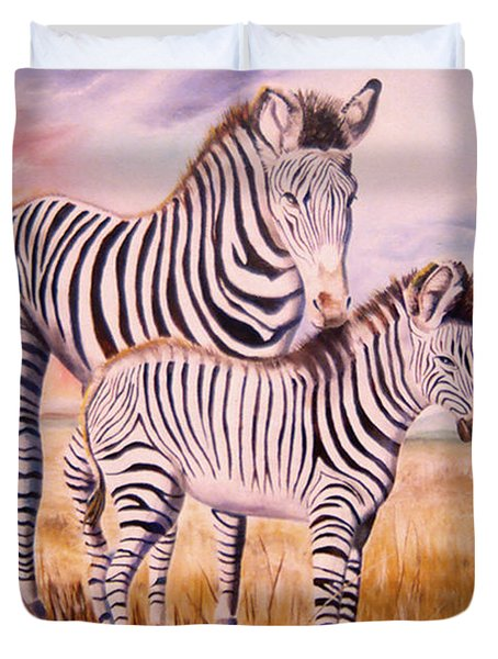 Zebra And Foal Duvet Cover