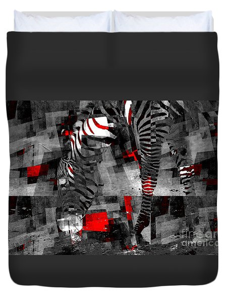 Zebra Art - 56a Duvet Cover by Variance Collections