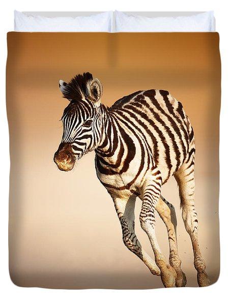 Zebra Calf Running Duvet Cover