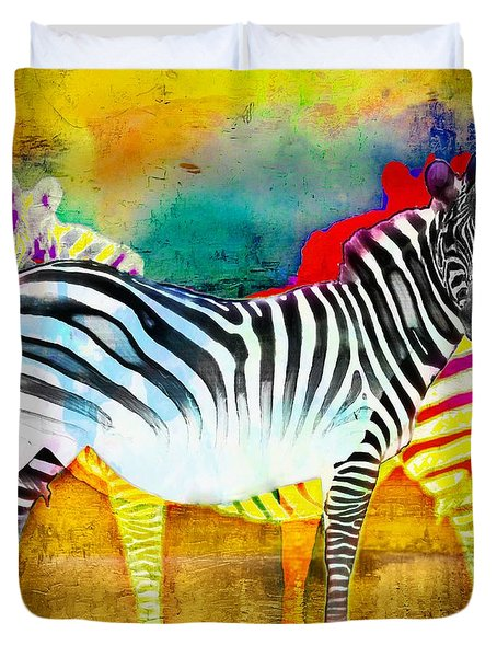Zebra Colors Of Africa Duvet Cover by Barbara Chichester