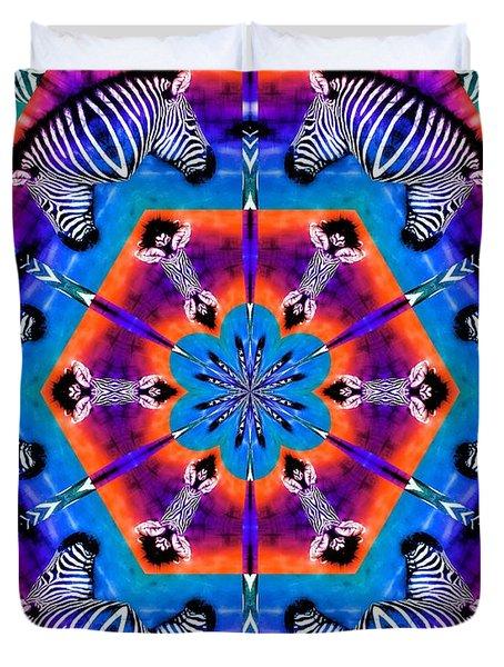 Zebra Kaleidoscope Duvet Cover