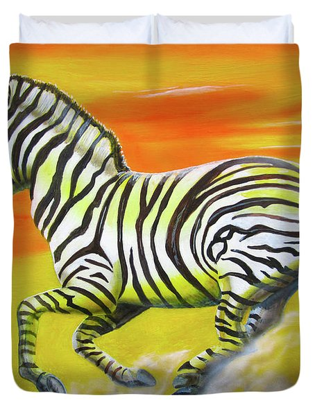 Zebra Kicking Up Dust Duvet Cover