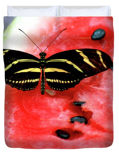 Zebra Longwing Butterfly On Watermelon Slice Duvet Cover