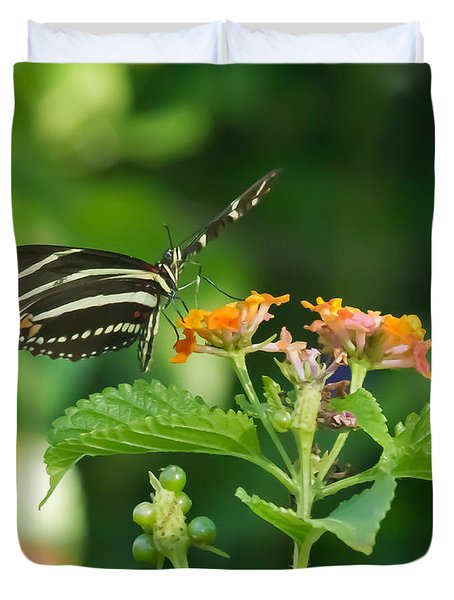 Duvet Cover featuring the photograph Zebra Longwing by Jane Luxton