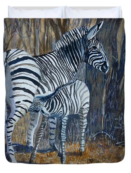 Zebra Mother And Foal Duvet Cover by Caroline Street