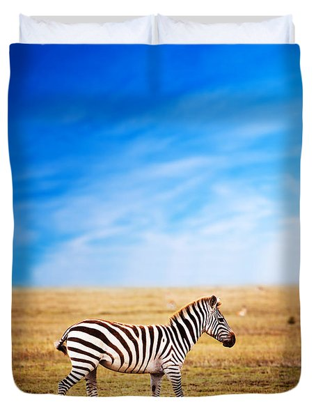 Zebra On African Savanna. Duvet Cover by Michal Bednarek