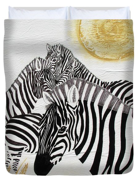 Duvet Cover featuring the painting Zebra Quintet by Stephanie Grant