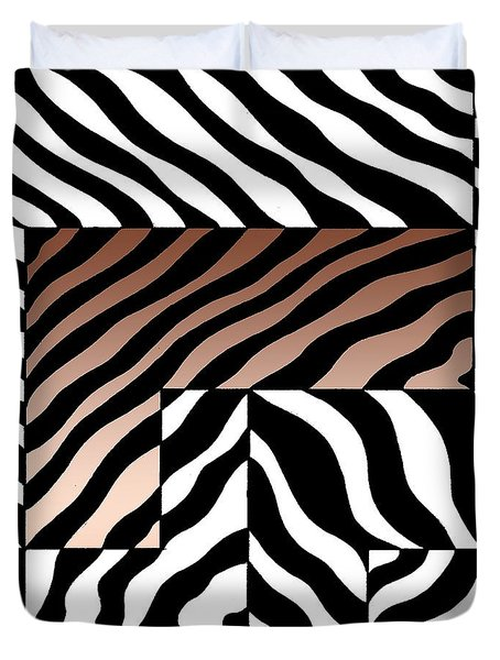 Duvet Cover featuring the drawing Zebra Squares by Joseph J Stevens