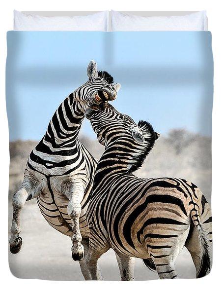 Zebra Stallions Fighting In Etosha Np Duvet Cover