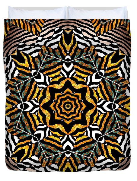 Duvet Cover featuring the mixed media Zebra Star Mandala by Joseph J Stevens