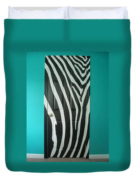 Zebra Stripe Mural - Door Number 1 Duvet Cover by Sean Connolly