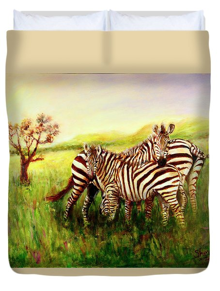 Zebras At Ngorongoro Crater Duvet Cover