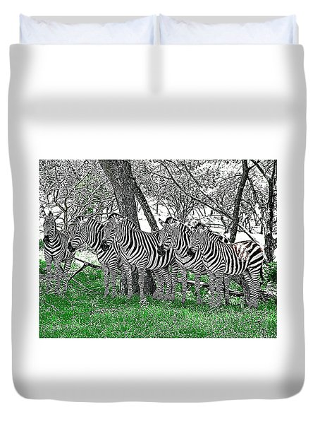Duvet Cover featuring the photograph Zebras by Kathy Churchman