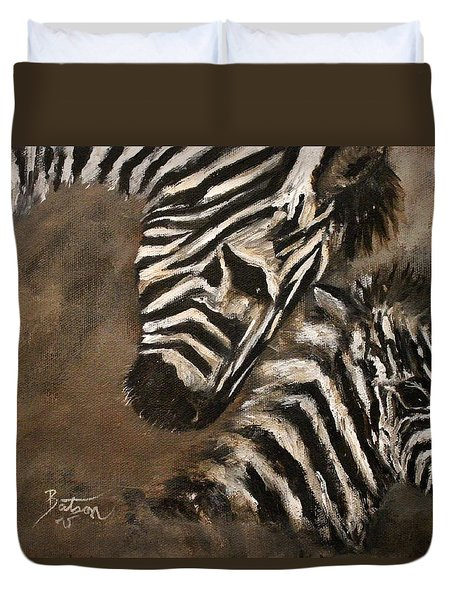 Duvet Cover featuring the painting Zebras Love From Above by Barbie Batson