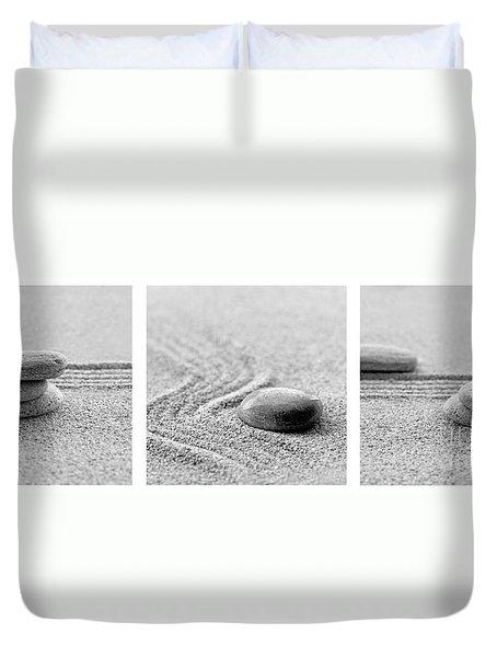 Zen Black And White Triptych Duvet Cover