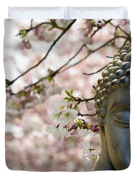 Zen Buddha Meditating Under Cherry Blossom Trees Duvet Cover