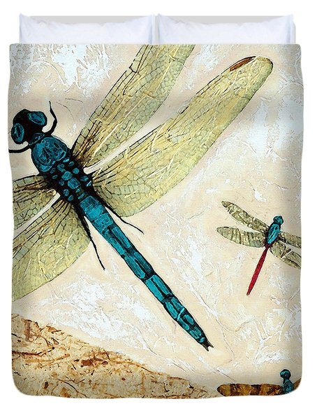 Zen Flight - Dragonfly Art By Sharon Cummings Duvet Cover