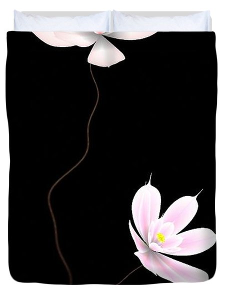 Zen Flower Twins With A Black Background Duvet Cover