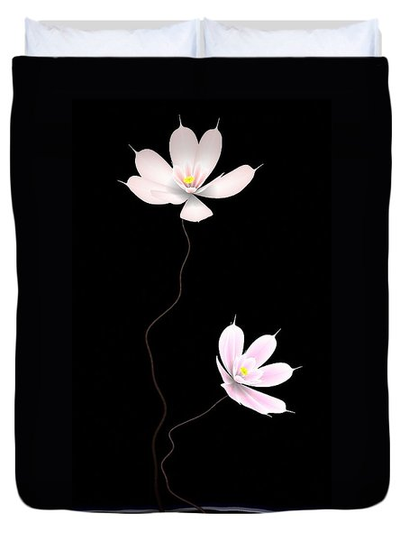 Zen Flower Twins With A Black Background Duvet Cover by GuoJun Pan
