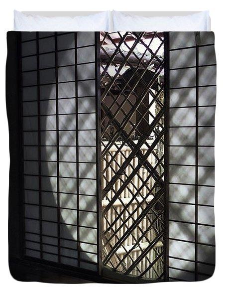 Zen Temple Window - Kyoto Duvet Cover by Daniel Hagerman