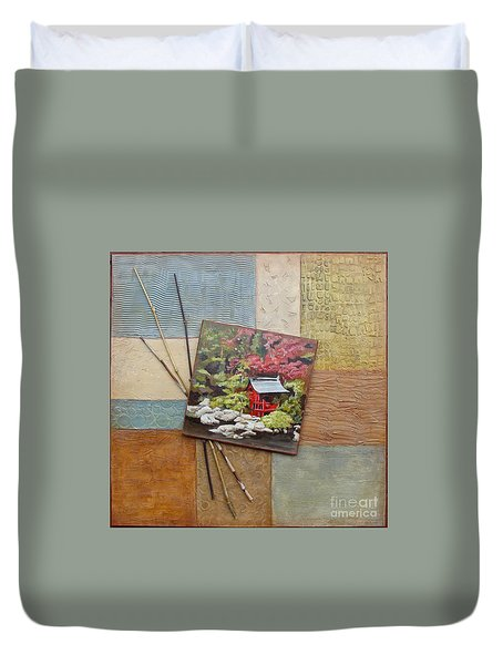 Duvet Cover featuring the mixed media Zen Tranquility by Phyllis Howard