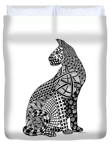 Duvet Cover featuring the drawing Cougar Wild Cat  by Nan Wright