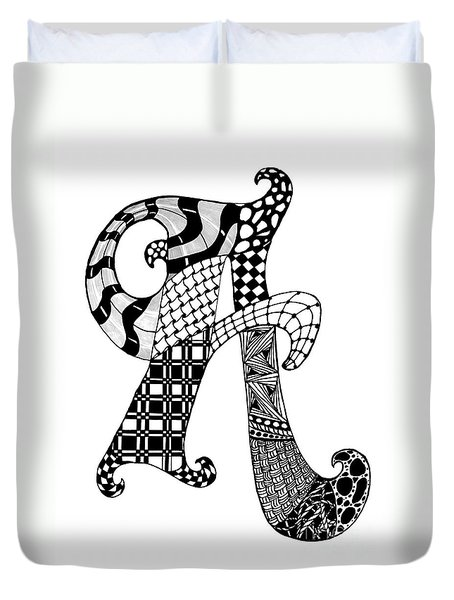Duvet Cover featuring the drawing Letter A Monogram In Black And White by Nan Wright