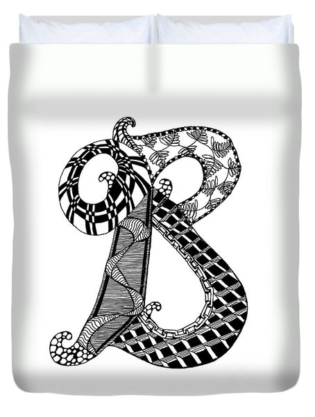 Duvet Cover featuring the drawing Letter B Monogram In Black And White by Nan Wright