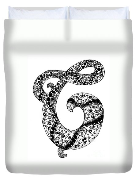 Letter C Monogram In Black And White Duvet Cover by Nan Wright