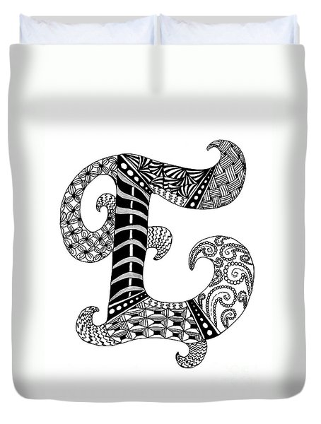 Letter E Monogram In Black And White Duvet Cover by Nan Wright