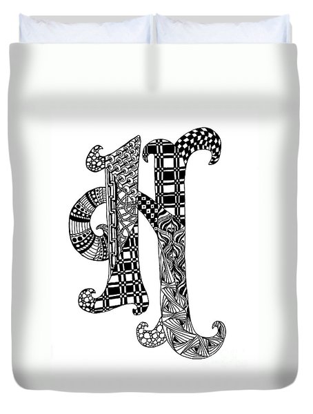 Letter H Monogram In Black And White Duvet Cover by Nan Wright
