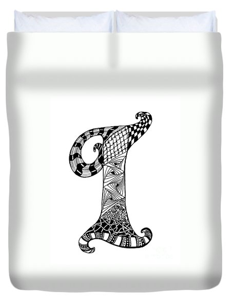 Letter I Monogram In Black And White Duvet Cover by Nan Wright