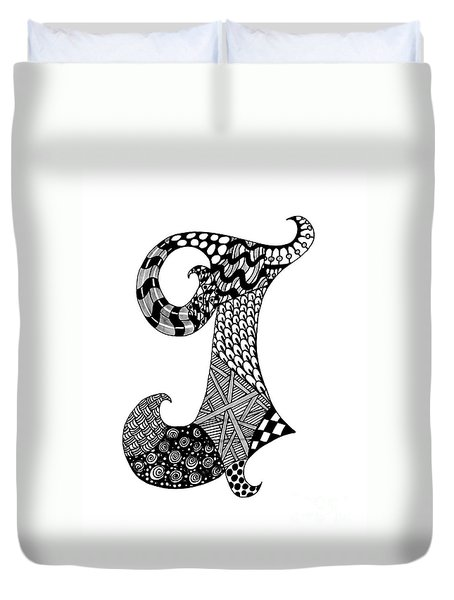Letter J Monogram In Black And White Duvet Cover by Nan Wright