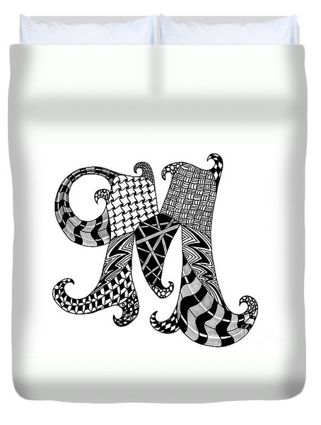 Letter M Monogram In Black And White Duvet Cover by Nan Wright