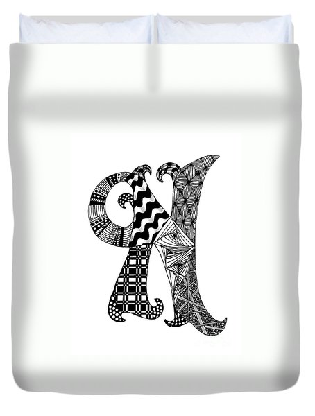 Letter N Monogram In Black And White Duvet Cover