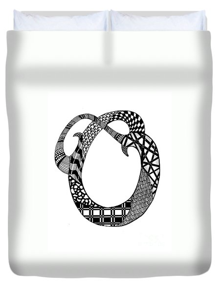 Letter O Monogram In Black And White Duvet Cover by Nan Wright