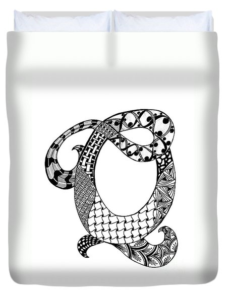 Letter Q Monogram In Black And White Duvet Cover by Nan Wright