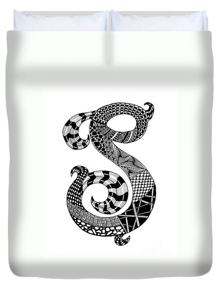 Letter S Monogram Duvet Cover by Nan Wright